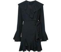 fluted sleeve ruffle trim wrap dress