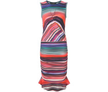 striped gathered detail dress