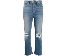 Distressed-Jeans mit hohem Bund