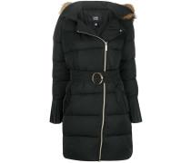 racoon fur trim puffer jacket