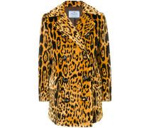 Doppelreihiger Mantel mit Animal-Print