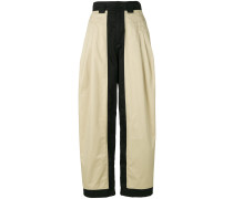 two-tone flared trousers