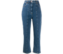 Tapered-Jeans mit Stickerei