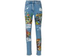 Los Exitos distressed print jeans