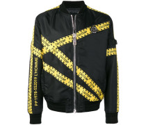 "Bomberjacke mit ""Caution""-Tape"