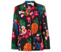 Pyjama-Seidenhemd mit Blumen-Print