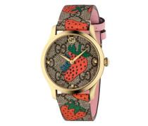 'G-Timeless' Armbanduhr mit Erdbeer-Print