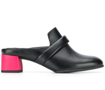 contrast block heel loafers