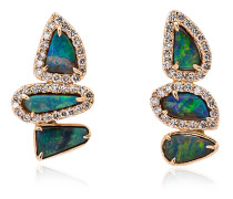Blue and Gold Opal and Diamond Earrings