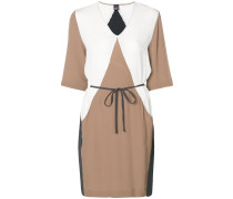 colour block tie waist dress