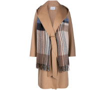 scarf detail wide-lapel coat