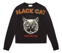 Cotton sweatshirt with Black Cat print