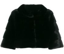 Cropped-Mantel mit Nerzbesatz
