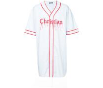 oversized raw hem baseball shirt