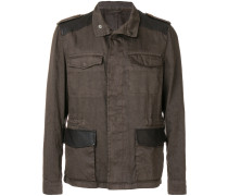 Military-Jacke mit Ledereinsätzen