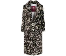 belted animal print coat