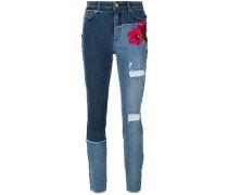 Skinny-Jeans mit floraler Stickerei