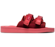 red suede Moto sandals