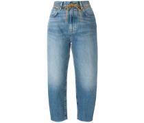 'Barrel' Cropped-Jeans mit Gürtel