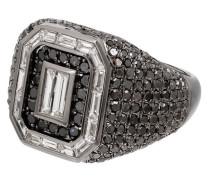18kt Schwarzgoldring mit Diamanten