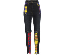 Jeans mit Tartan-Einsätzen