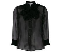 sheer ruffle placket blouse