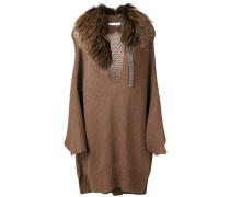 fur collar oversized sweater