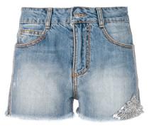 Jeansshorts mit Perlen