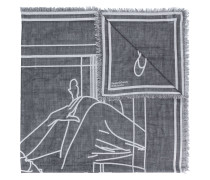 Ausgefranster Schal mit grafischem Motiv