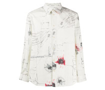 long-sleeved drawing-print shirt