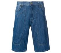 stitched panel denim shorts