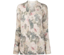 floral patterned chunky knit jumper