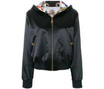 reversible baroque hooded bomber jacket