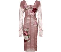 Gerafftes Kleid mit Rosen-Patches