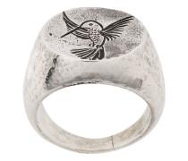 engraved hummingbird ring