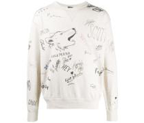 Sweatshirt mit Zeichnungs-Print