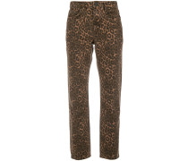 Cropped-Jeans mit Leopardenmuster