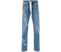 Schmale Jeans mit Vogel-Print