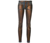 Skinny-Jeans mit Metallic-Effekt