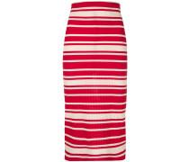 striped rib knit midi skirt