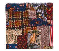 frayed hem printed scarf