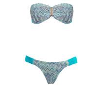 printed bandeau bikini set
