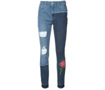 Enge Patchwork-Jeans mit Blumenstickerei