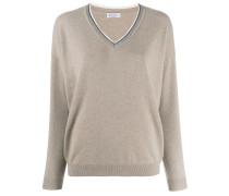 knit glitter V-neck sweater