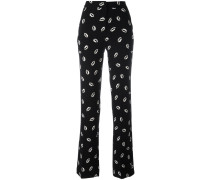 lip print straight trousers