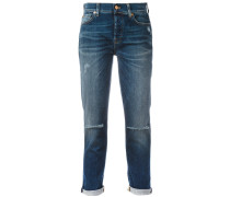 Boyfriend-Jeans in Distressed-Optik