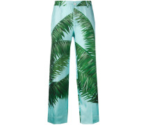 palm print loose fit trousers