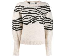 Intarsien-Pullover mit Streifen