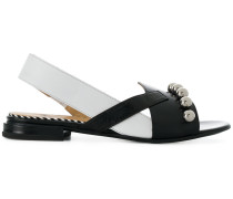 asymmetric sling-back sandals