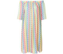 Schulterfreies Kleid mit Streifen